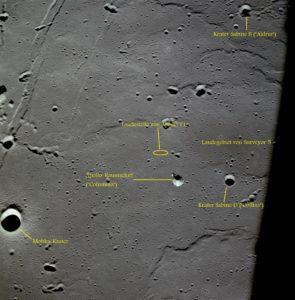 Apollo 11 Landebereich mit Erklärungen