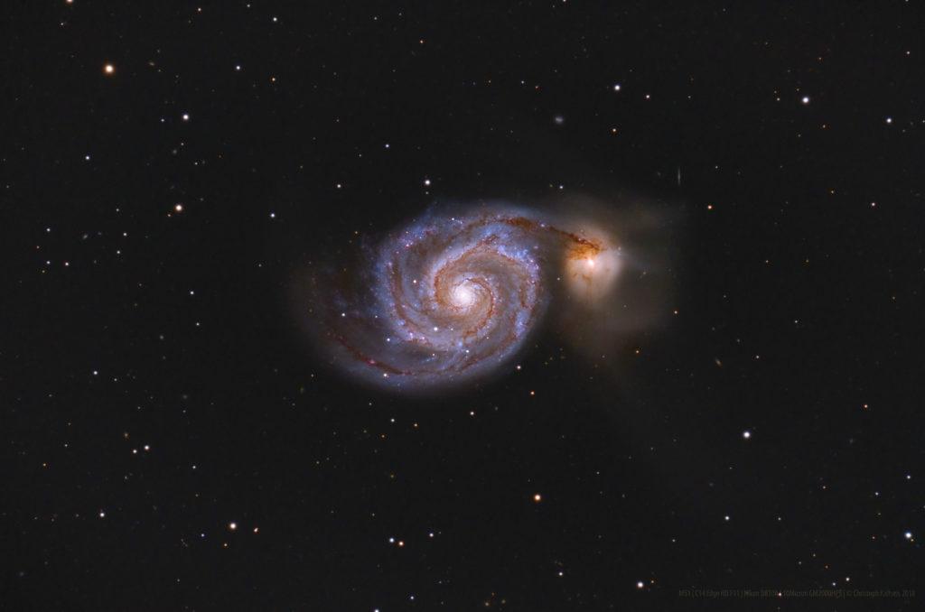 M51 - Feuerrad Galaxie aufgenommen mit C14 EDGE HD - Christoph Kaltseis