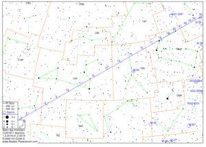 Aufsuchskarte: Bahn des Kometen C/2018Y1 Iwamoto