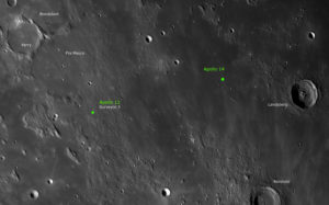 Mondregion mit den Landegebieten von Apollo 12 und 14, © 2019 by W. Paech+F. Hofmann – Camäleon Observatory, Namibia
