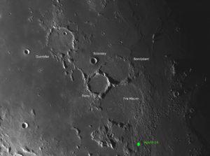 Die 3 großen, erodierten Krater Guericke, Bondplant und Parry und die Rimae Parry, © 2019 by W. Paech+F. Hofmann – Camäleon Observatory, Namibia