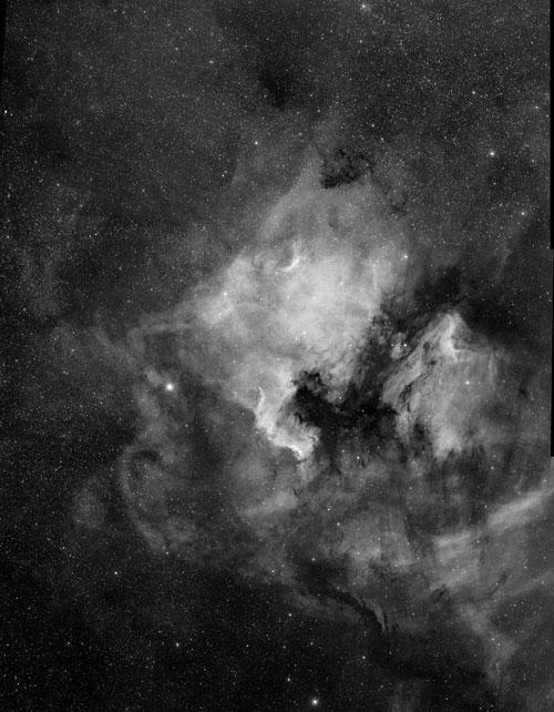Nordamerikanebel NGC 7000 mit RASA 8, 9 Felder je 30-40min BLZ zusammenmontiert. Mit Baader Highspeed H-alpha Filter und ASI 1600 Kamera