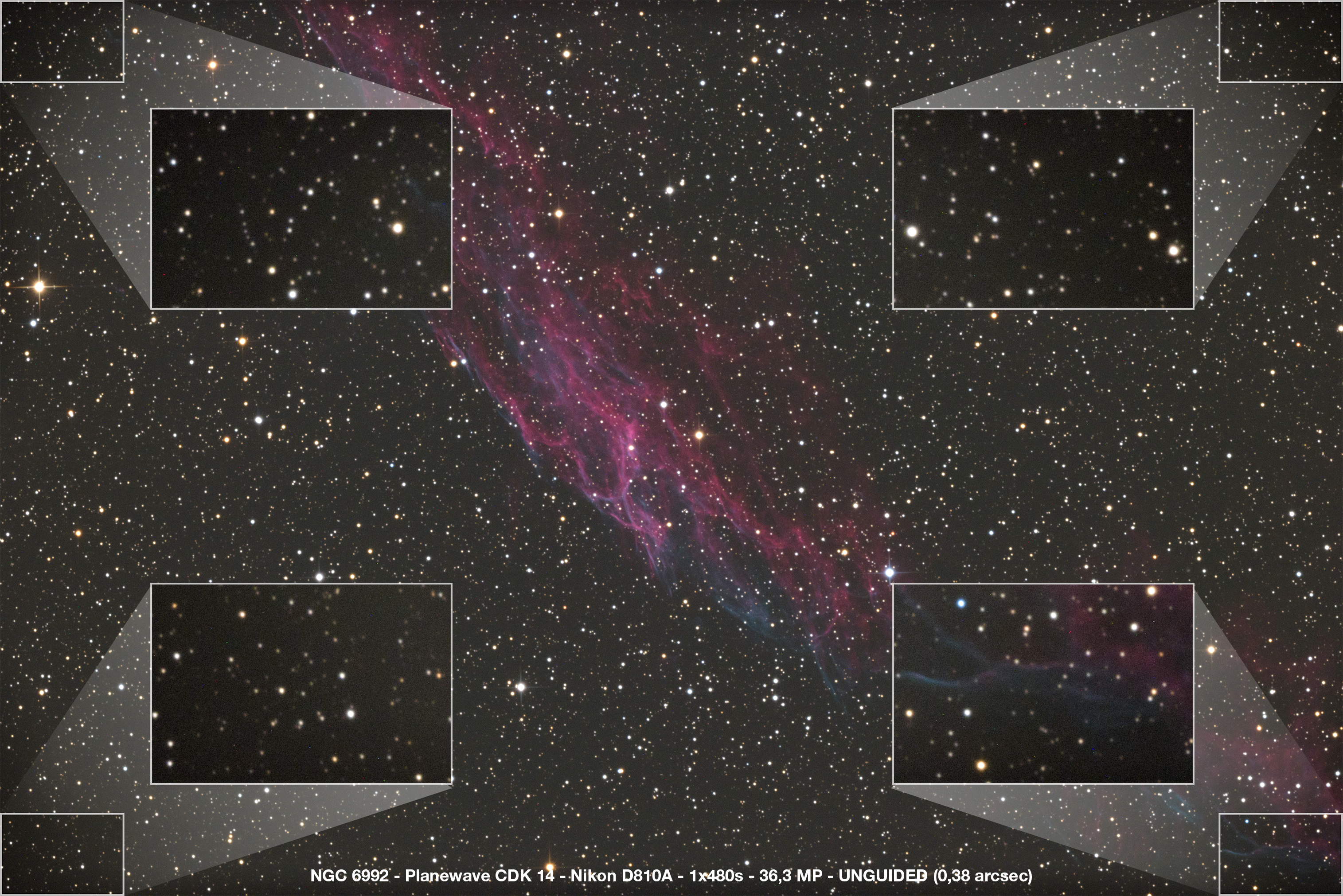 NGC 6992 – PlaneWave CDK14 – Nikon D810A – 1x480s – 36,3 MP – UNGUIDED (0,38 arcsec)