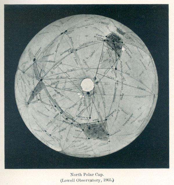 """Zeichnung der Nordpolkappe mit Kanälen von Lowell. Quelle: W.Paech aus """"Mars and its Canals"""", 3. Auflage 1911"""