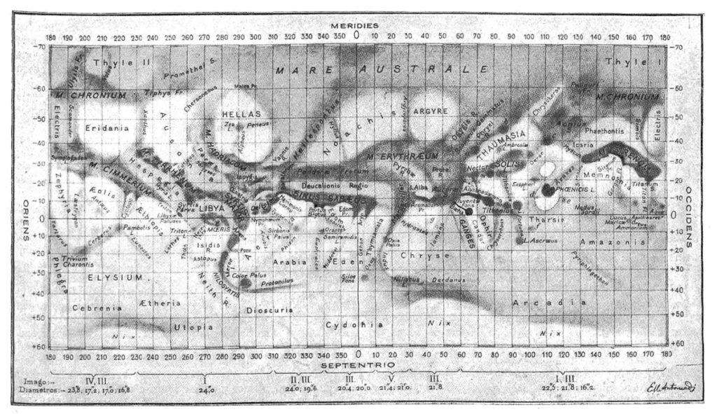 Gesamtkarte der Marsoberfläche von Antoniadi aus dem Jahr 1909. Quelle: Internet gemeinfrei