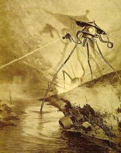 """Außerirdische Dreifuß-Illustration von Alvim Corréa, aus der französischen Ausgabe von H.G. Wells' """"Krieg der Welten"""" von 1906. Quelle: Internet gemeinfrei"""