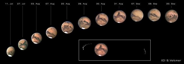 Die Aufnahmen von Sebastian Voltmer (Link zu weltraum.com) zeigen den Anblick des Mars von Juli bis September 2003.