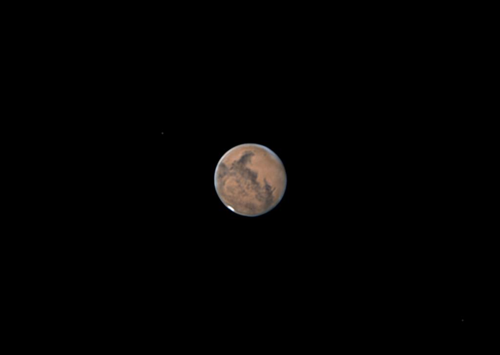 Kompositbild von Mars, Phobos und Deimos aufgenommen mit Celestron Nexstar 8SE - James Bates