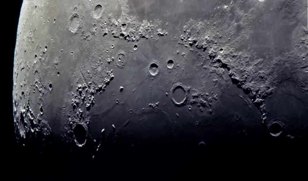 Mond am 20.4.21, Krater Plato und Apeninnen aufgenommen mit Celestron C8 - Peter Mein